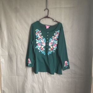 Woman Within green embroidered  long sleeve shirt